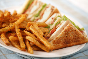 club sandwich in restaurant